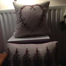foxglove heart and rosebay willowherb, linen cotton blend with 100% HArris Tweed on the back